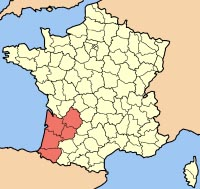 map of the Aquitaiune region of France