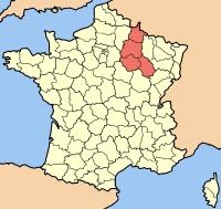 Map of Champagne-Ardenne Region of France.