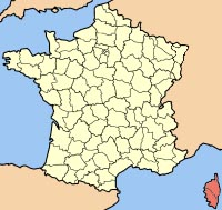 map of France highlighting Corse.