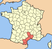 Map of Languedoc-Roussillon Region of France