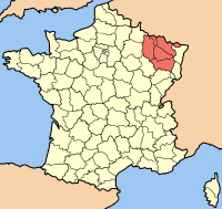 Map of France with the Lorraine Region highlighted.
