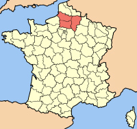 Map of France with the Picardy region highlighted